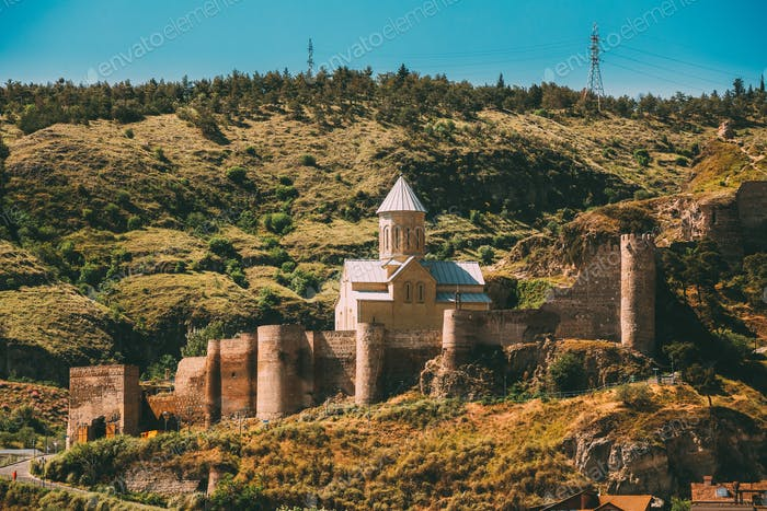 Tbilisi, Georgia. Scenic View Of Impregnable Fortress Narikala F