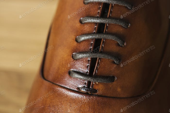 Closeup of leather shoe