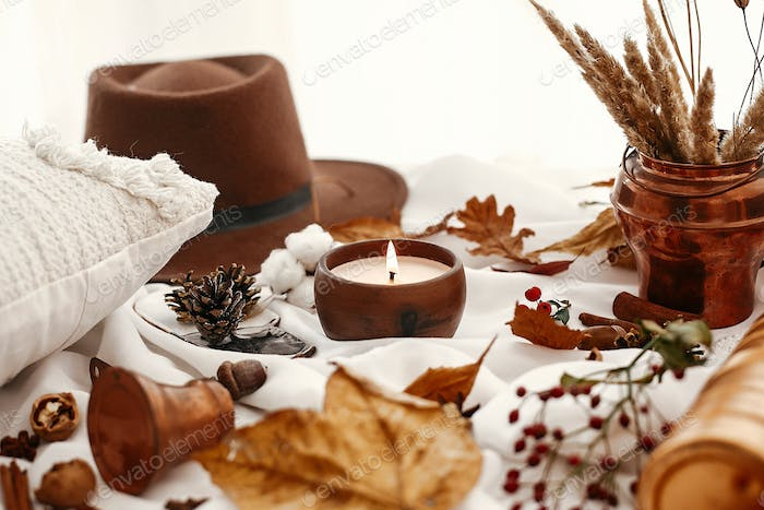 Hygge lifestyle. Candle, berries, fall leaves, herbs