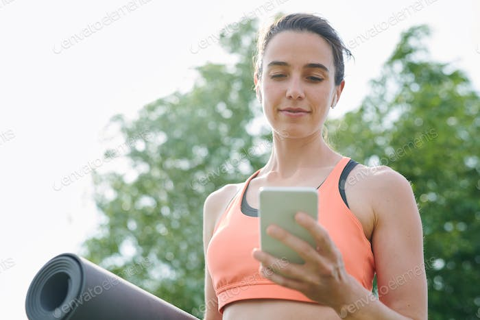 Viewing yoga exercise on phone