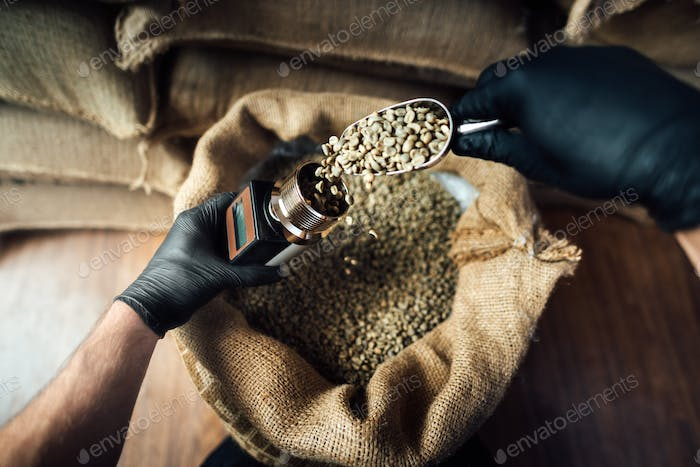 pouring coffee beans into a device for measuring humidity with a metal scoop