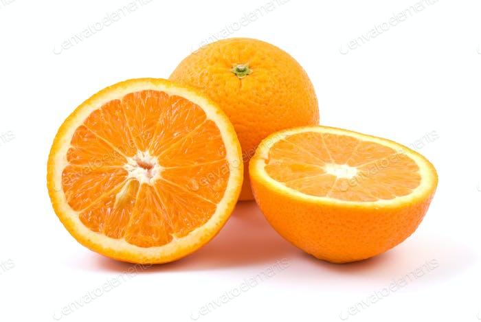 Orange. Whole and halves