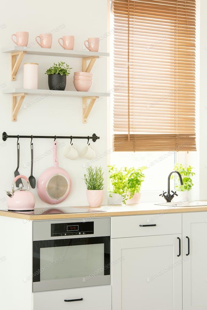 Close-up of a bright, scandi kitchen interior with pink kitchenw