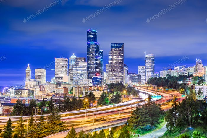 Seattle, Washington, USA downtown city skyline