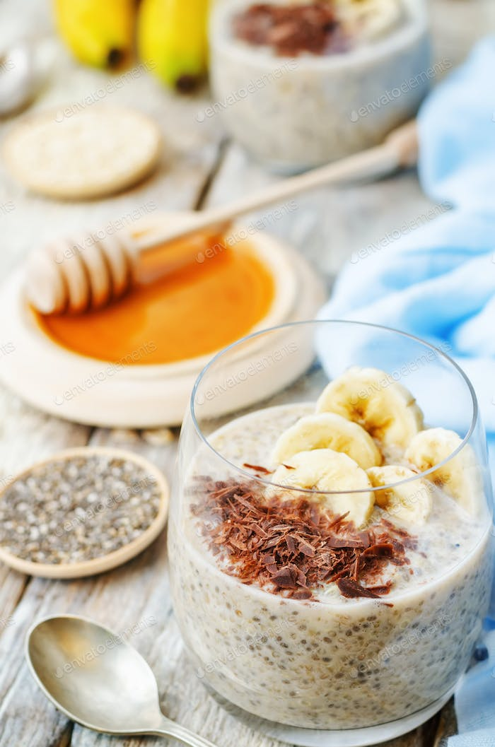 overnight banana oats quinoa Chia seed pudding decorated with ba