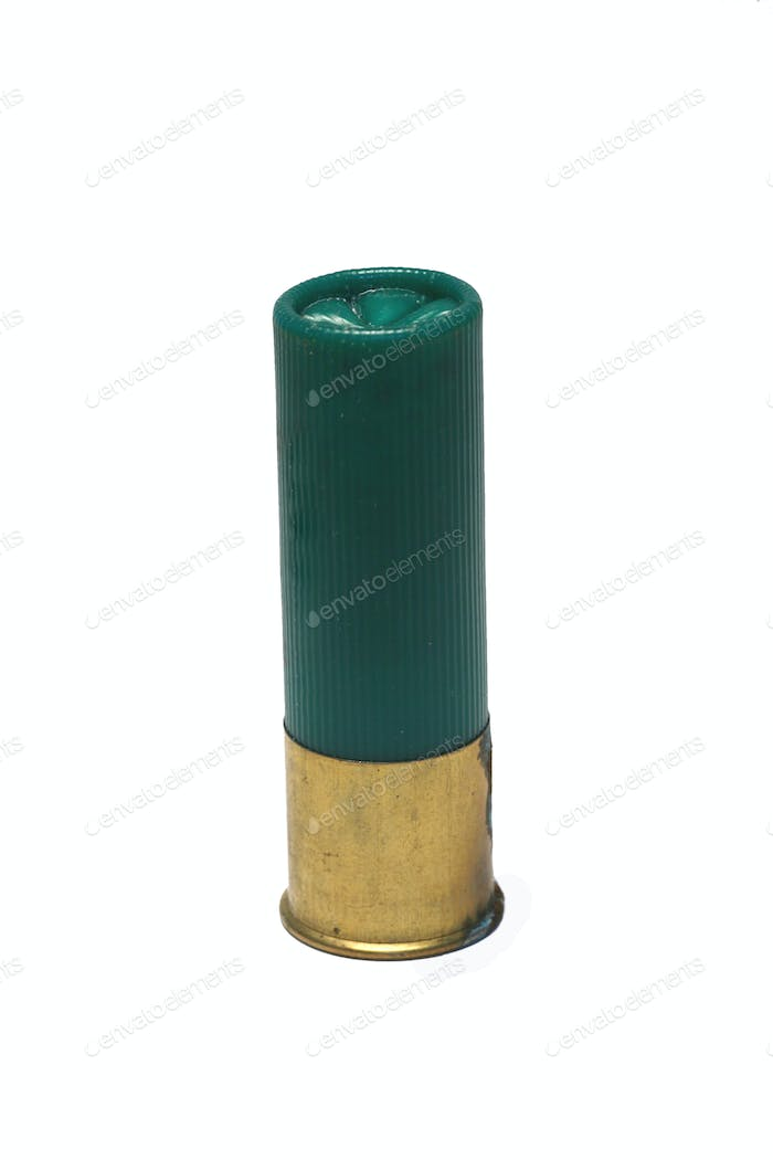 Isolaged 12 gage green shotgun shell