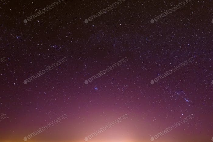 Night Starry Sky With Glowing Stars
