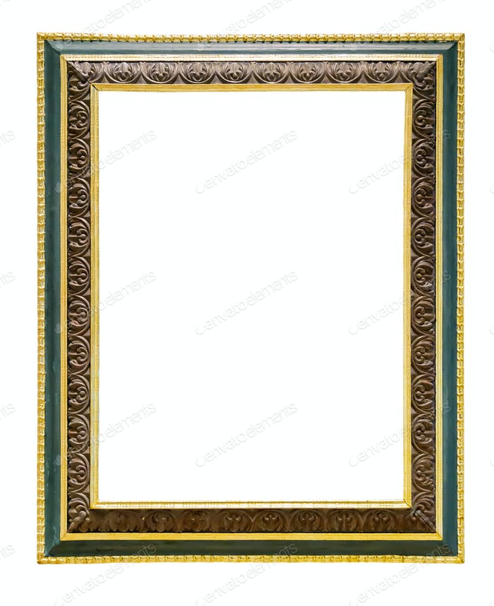 Green wooden picture frame with golden decorations