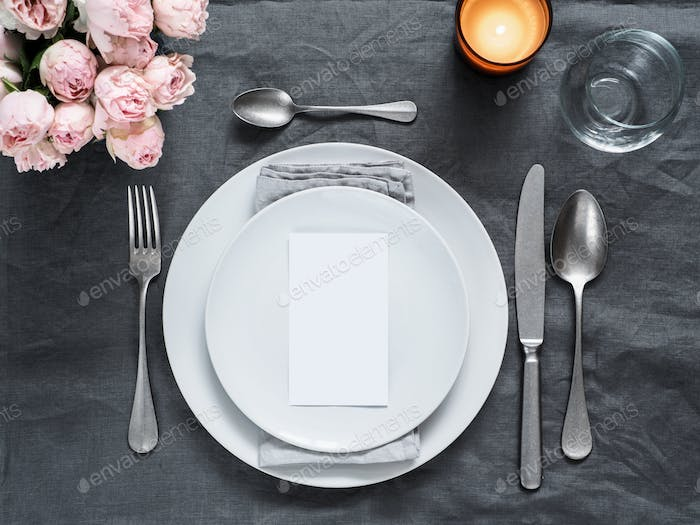 Beautiful wedding table setting mock up