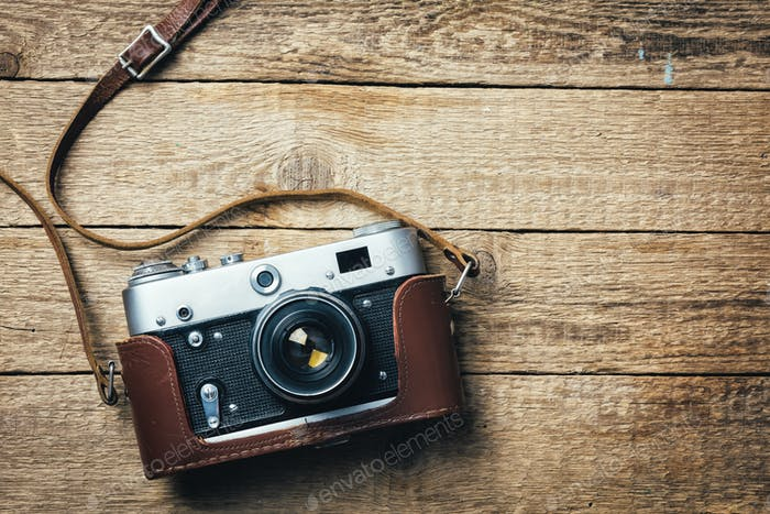 Old vintage film photo camera