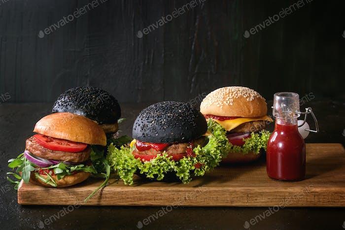 Variety of homemade burgers