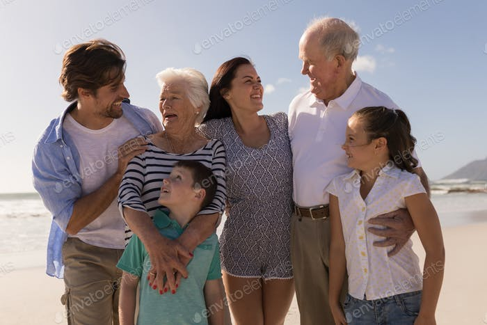 Front view of happy multi-generation family looking each other on beach in the sunshine