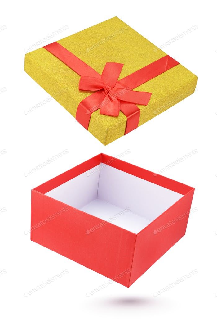 Open cardboard gift box isolated on white background