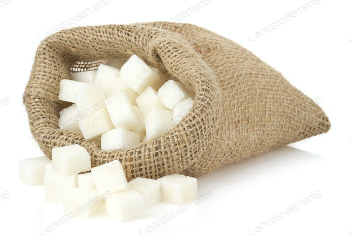 sugar cubes in bag sack