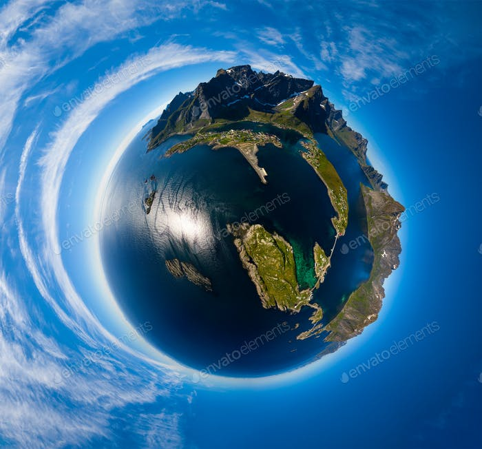 Mini planet Lofoten is an archipelago in the county of Nordland,