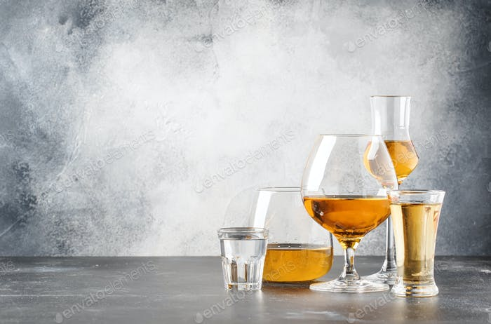 Thumbnail for Set of hard strong alcoholic drinks and spirits