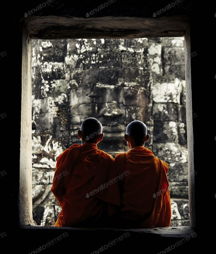Two Teen Cambodian Monks Concept