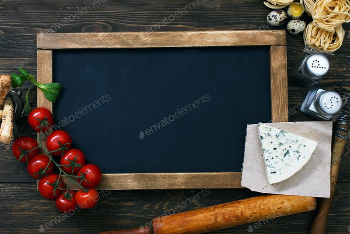 Italian food on vintage wood background