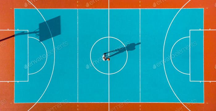 Basketball Player, Long Shadows on Basketball Court, Creative Vi