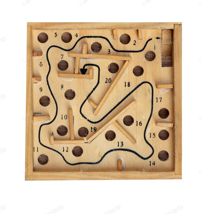 Vintage table game labyrinth isolated on white background