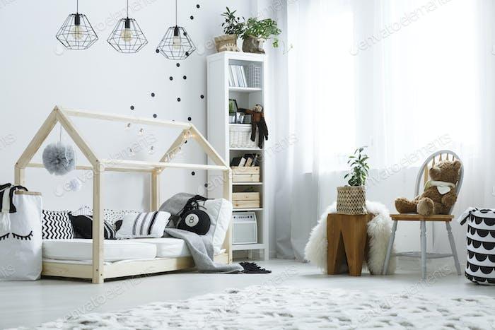 Scandi child bedroom with window