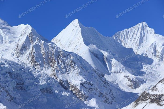 Beautiful snow mountain and glacier landscape