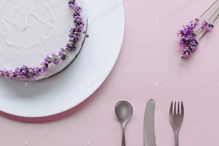 top view of beautiful cheesecake decorated with lavander