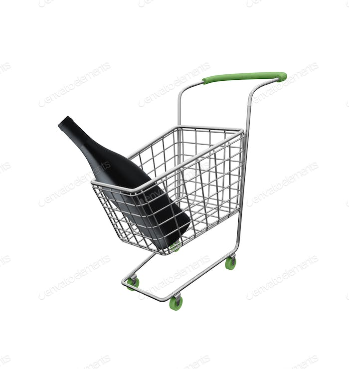 shopping cart with big wine bottle isolated on white background