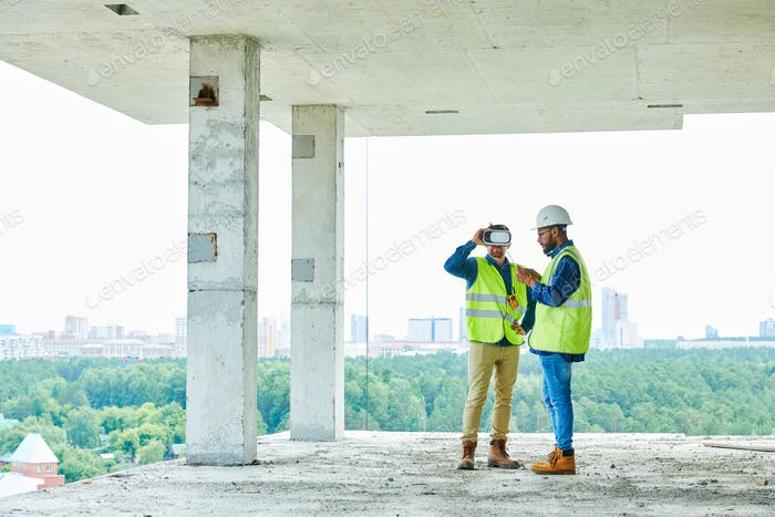 Workers Using VR on Site