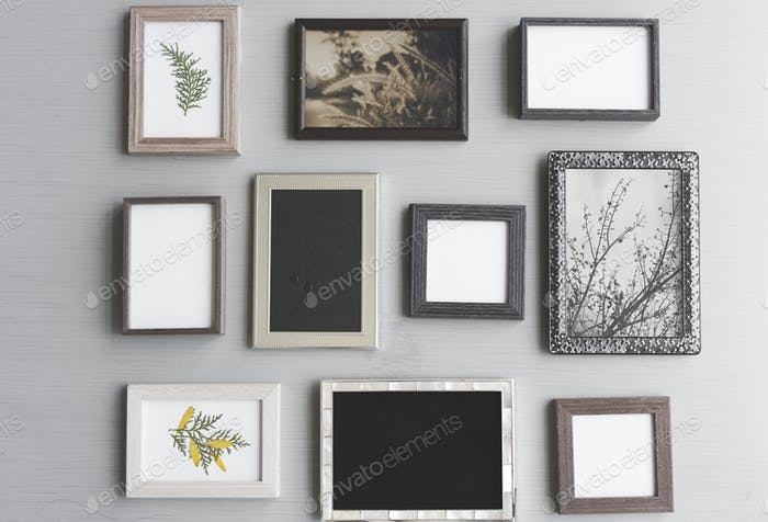 Blank Copy Space Photo Frames on Gray Background