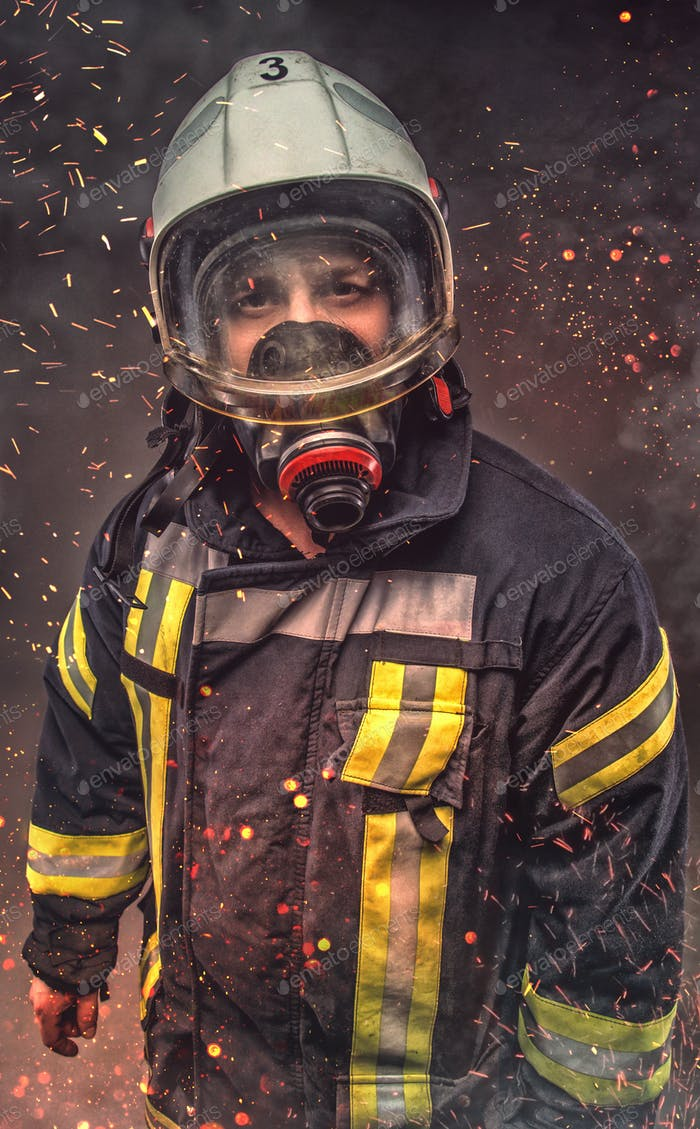 Portrait of firefighter . Concept art