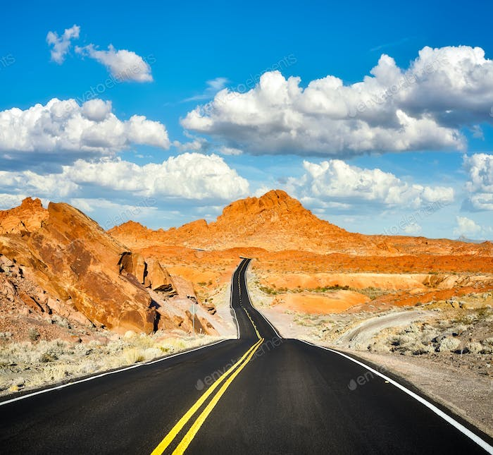 Picture of a scenic desert road.