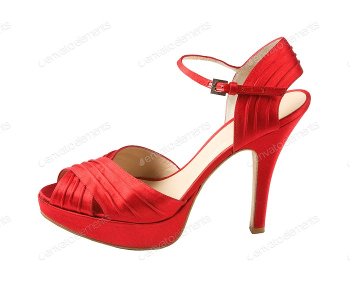 Red leather peep toe stilettos