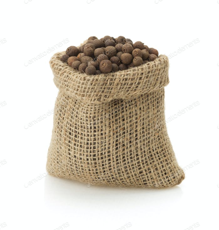 allspice in bag on white