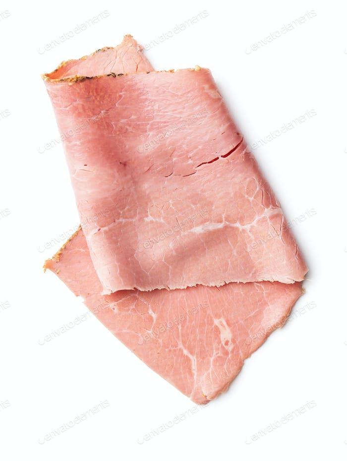 Sliced beef ham.
