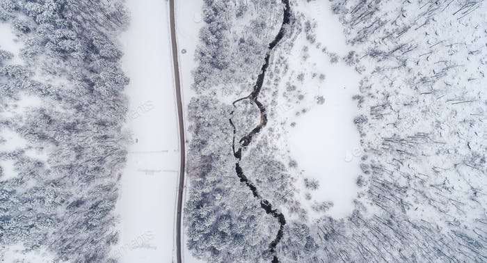 Winter fairytale landscape from above
