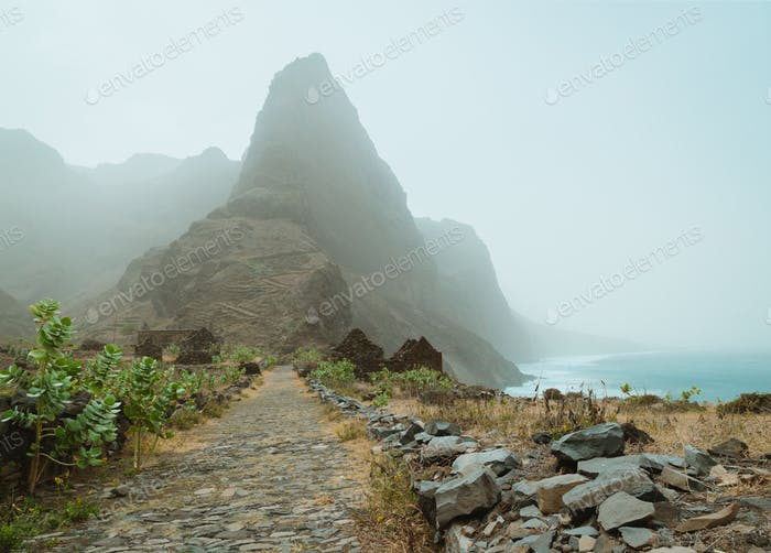 Vacation at Santo Antao Island, Cape Verde. Panoramic view of stony hiking path to Ponta do Sol over