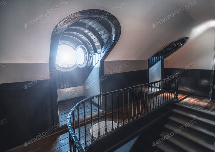 Staircase of the top floor, windows