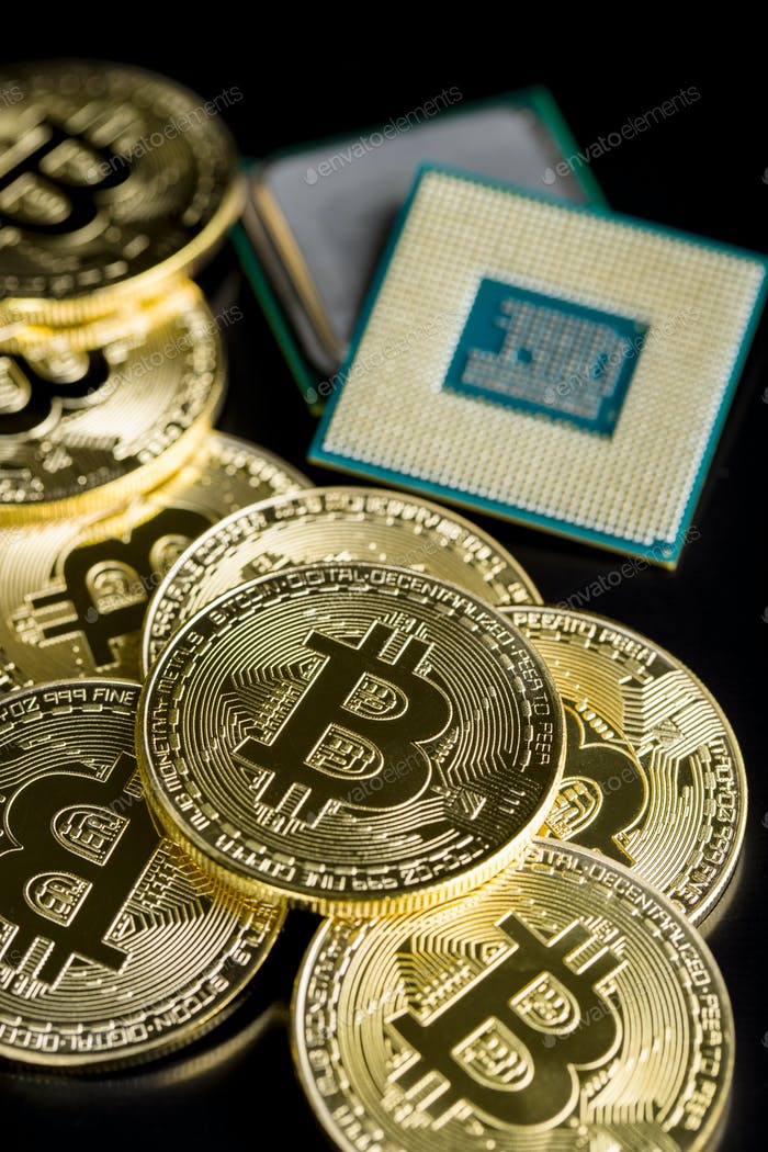 Golden bitcoins and CPU.