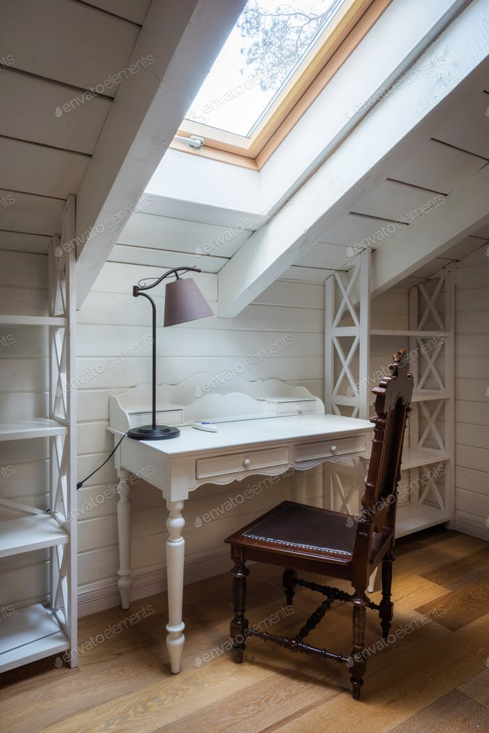 wooden table, lamp and chair in modern country house
