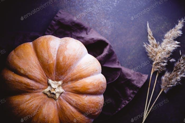 Vista de alto ángulo de una calabaza grande en una mesa. Concepto de Halloween de Acción de Gracias.