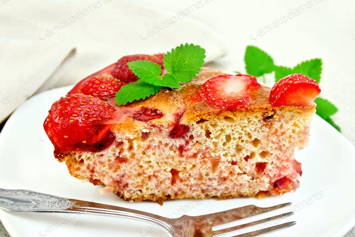 Pie strawberry with jelly on light board