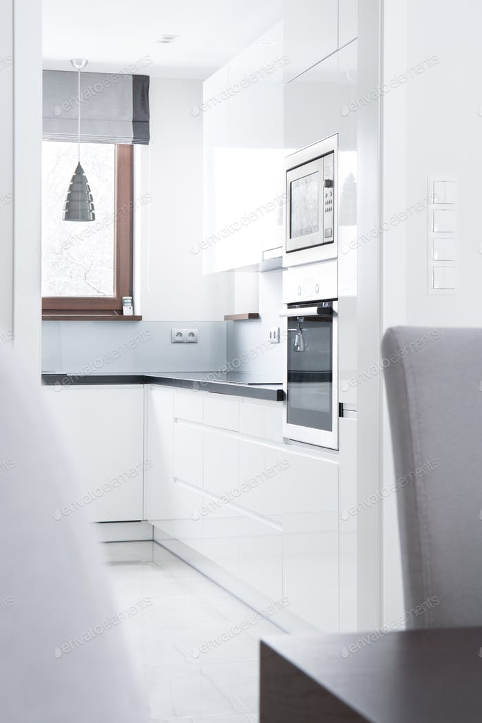 White light kitchen in the apartment