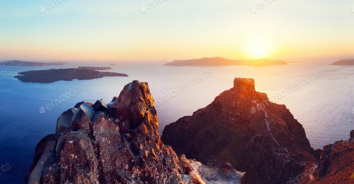 Cliff and volcanic rocks of Santorini island, Greece. View on Caldera