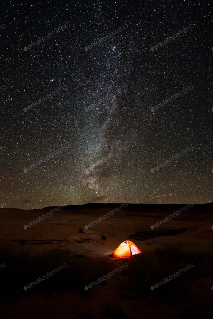 Single Tent under the Milky Way
