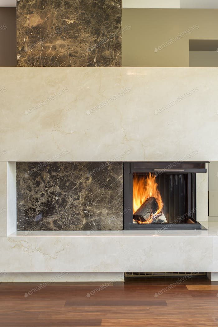 Modern fireplace in luxury interior