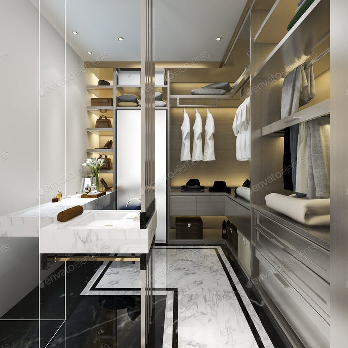 3D Rendering modernen skandinavischen weißen Holz zu Fuß in Schrank mit Kleiderschrank in der Nähe von Fenster
