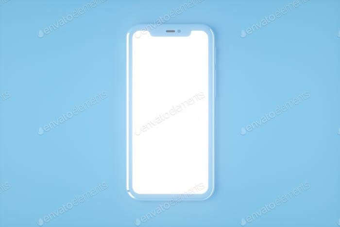Realistic smartphone mockup set, 3d render. Mobile phone blank, white screen design. Blue color