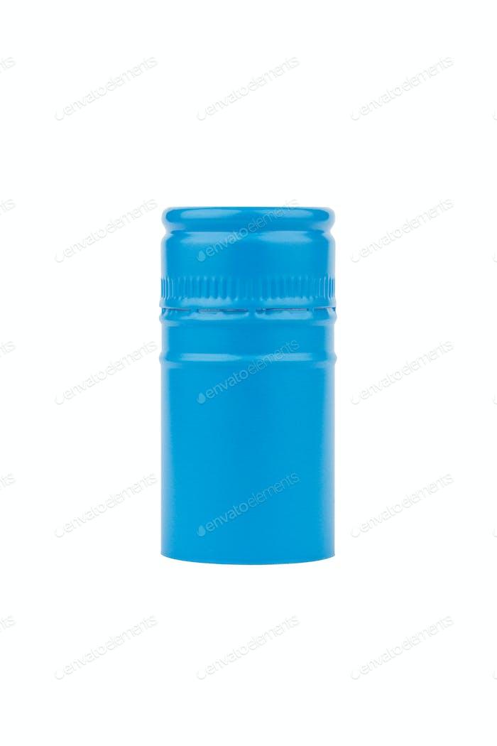 blue aluminum screw cap isolated on white background