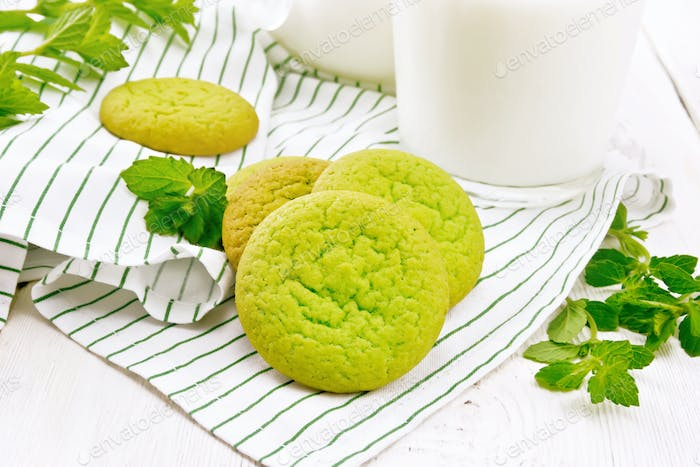 Cookies mint with napkin on white board